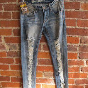 Machine Mid Rise Multi Ripped Skinny Denim Jeans